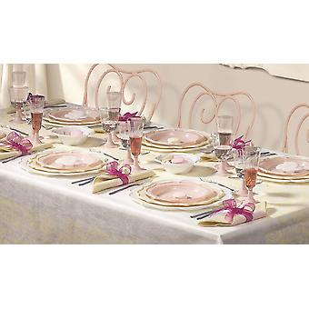 Romantic party tableware set for 12 guests 161-teilig party package pink beige white party package