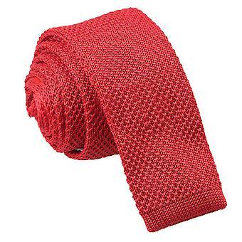Gravata Skinny de malha vermelha carmesim