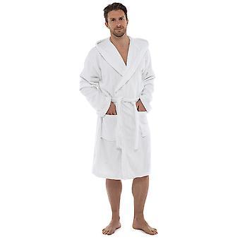 توم فرانك مينس سوبرسوفت القطن تاويلينج رداء الحمام مقنعين-أبيض-متوسط/كبير