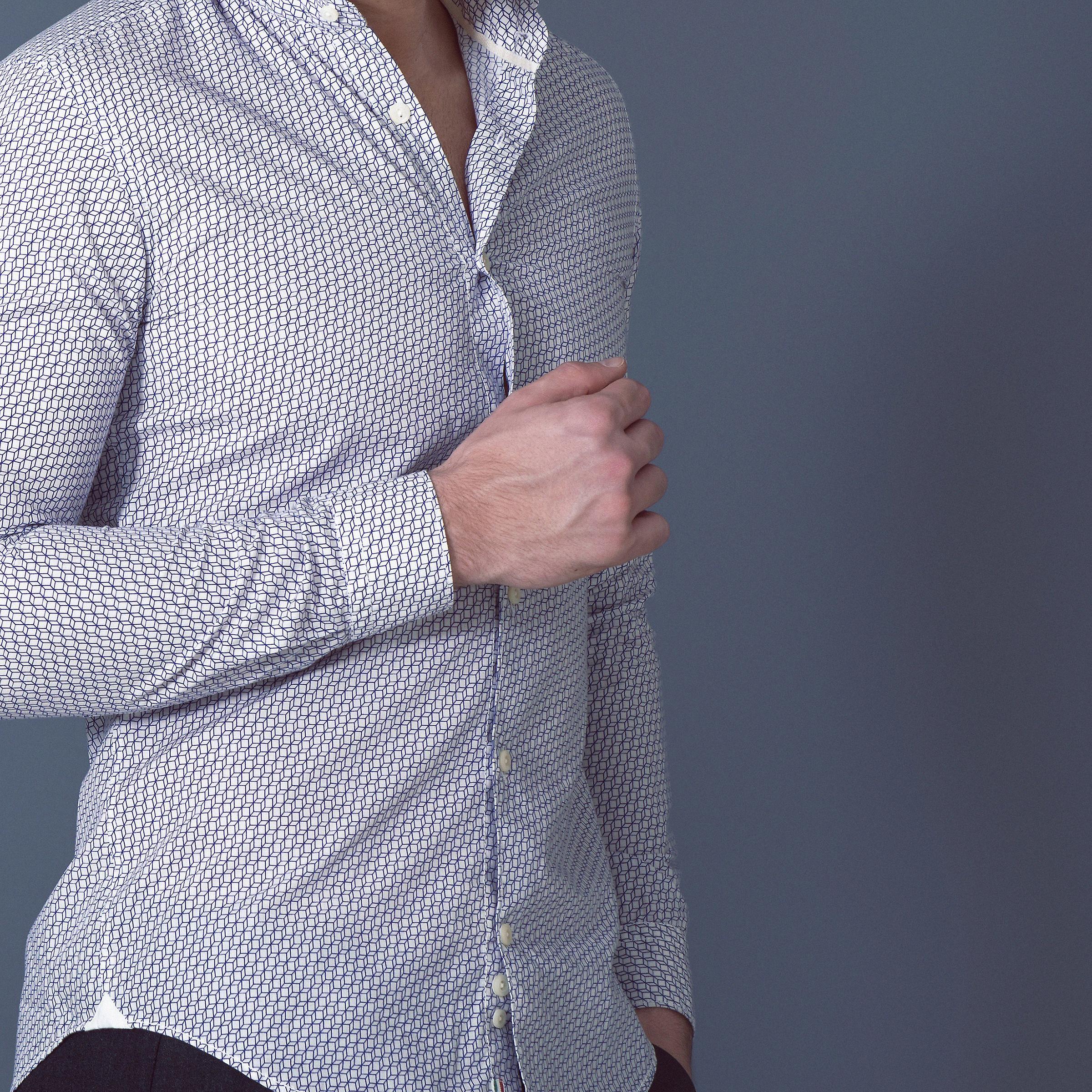 Fabio Giovanni Alberona Shirt - Lightweight Italian Poplin Cotton Printed with 3-D Cube Pattern