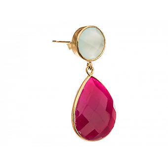 Paar Damen - Ohrringe - 925 Silber Vergoldet - Chalcedon - Rubin - Meeresgrün - Rot - 4 cm