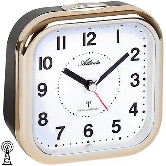 Atlanta 1829/9 alarm clock radio vækkeur analog sort golden med lys Snooze