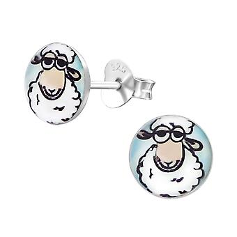Sheep - 925 Sterling Silver Colourful Ear Studs - W19714X