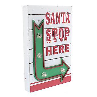 Festliche Produktionen 30cm Batterie betriebenen Santa halten hier Weihnachten Pfeilzeichen