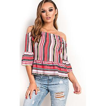 IKRUSH Womens Lexi Off Shoulder Stripe Frill Top