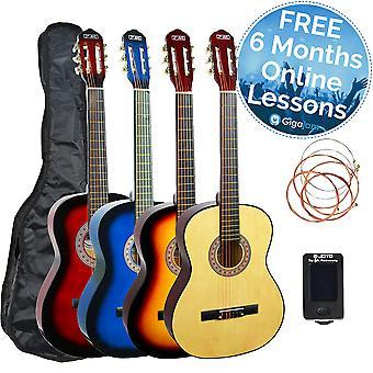 3e avenue 3/4 taille guitare classique Pack - disponible en Blueburst, naturelles ou Sunburst
