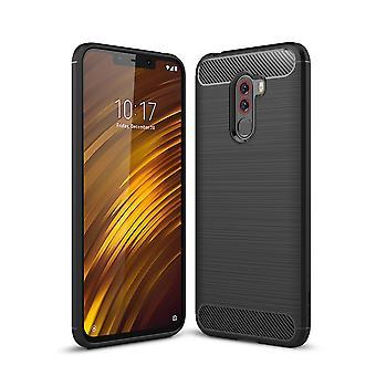 Xiaomi Pocophone F1 TPU asia carbon fiber optiikka harjattu suojakotelo musta