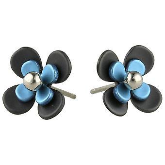 Ti2 Titanium Black Back Four Petal Flower Stud Earrings - Sky Blue