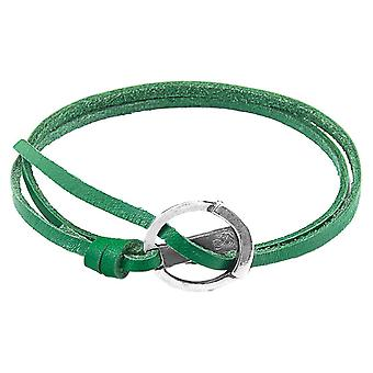 Anchor and Crew Ketch Anchor Flat Leather Bracelet - Fern Green/Silver