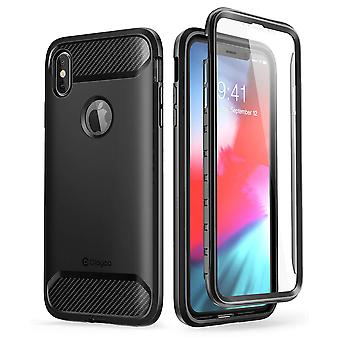 iPhone XR Case, Clayco [Xenon] Full-Body Rugged Case with Built-in Screen Protector (Black)