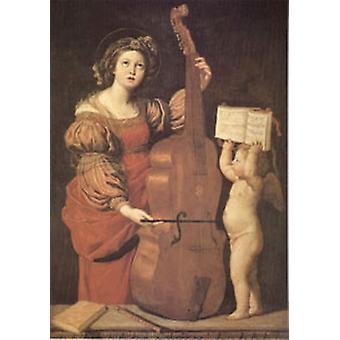 Cecilia with an angel Holding Music, Domenichino, 60x40cm