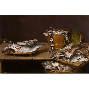 Still Life with Fish, Oysters, Alexander Adriaenssen, 60x40cm