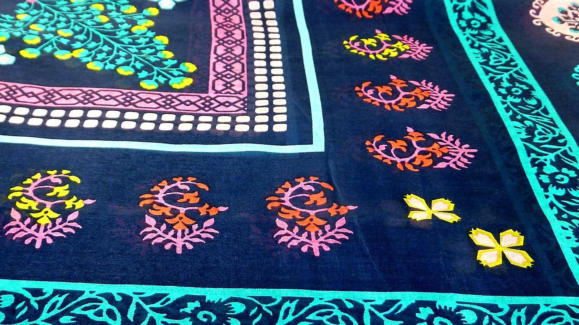 Mulberry Silk Contemporary Square Scarf Nanda Aqua by Pashmina & Silk