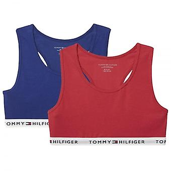 Tommy Hilfiger Girls 2 Pack Iconic Bralette, Crimson / Blue Depths, X-Large