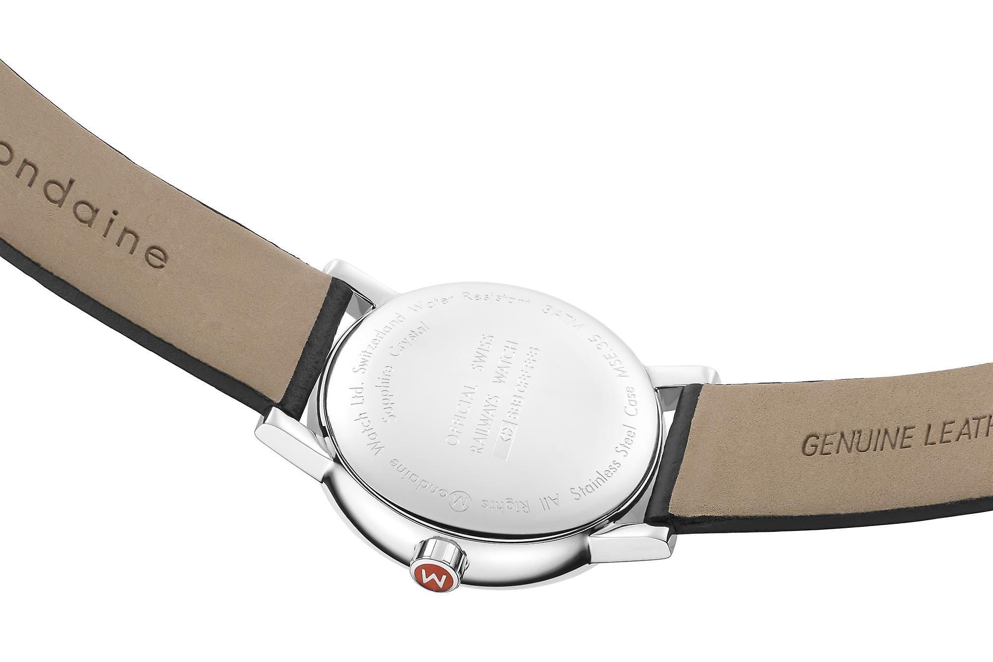 Mondaine evo2 Black Leather Strap Ladies' Watch MSE.35110.LB 35mm