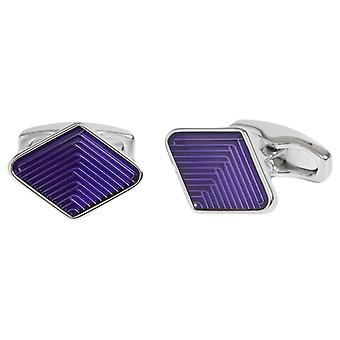 Simon Carter Diamond Guilloche Enamel Weave Cufflinks - Navy