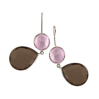 Gemshine earrings rose quartz and smoky quartz drops in 925 silver or gold plated