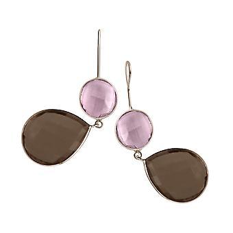 Orecchini Gemshine rosa quarzo e gocce di quarzo affumicato in 925 argento o oro placcato