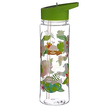 Sloth water bottle Just Hanging Around transparent, printed plastic, capacity approx. 500 ml...
