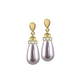 Eeuwige collectie Beaumont Mauve glas parel Gold Tone Drop Clip op oorbellen