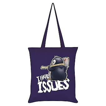Psycho Penguin I Have Issues Tote Bag