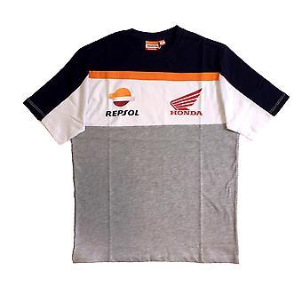 Repsol Honda Mens Orange Tape T-Shirt   Grey