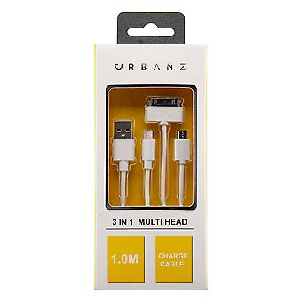 Urbanz 3 in 1 USB Charging Cable 1M Lightning 30 Pin & Micro USB - White