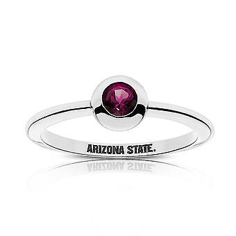Arizona State University Rhodolite Garnet ring i sterling sølv design af BIXLER