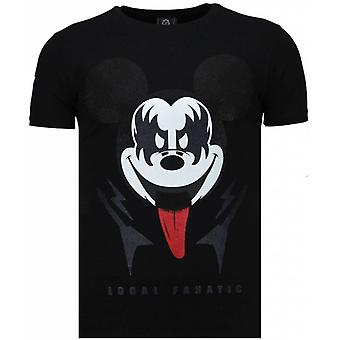 Kyss min Musse-rhinestone T-shirt-svart