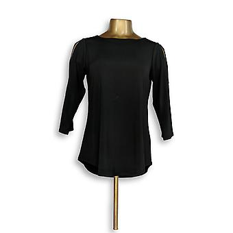 Joan Rivers Classics Collection Womens Top (XXS) Knit Top Black A299415 PTC