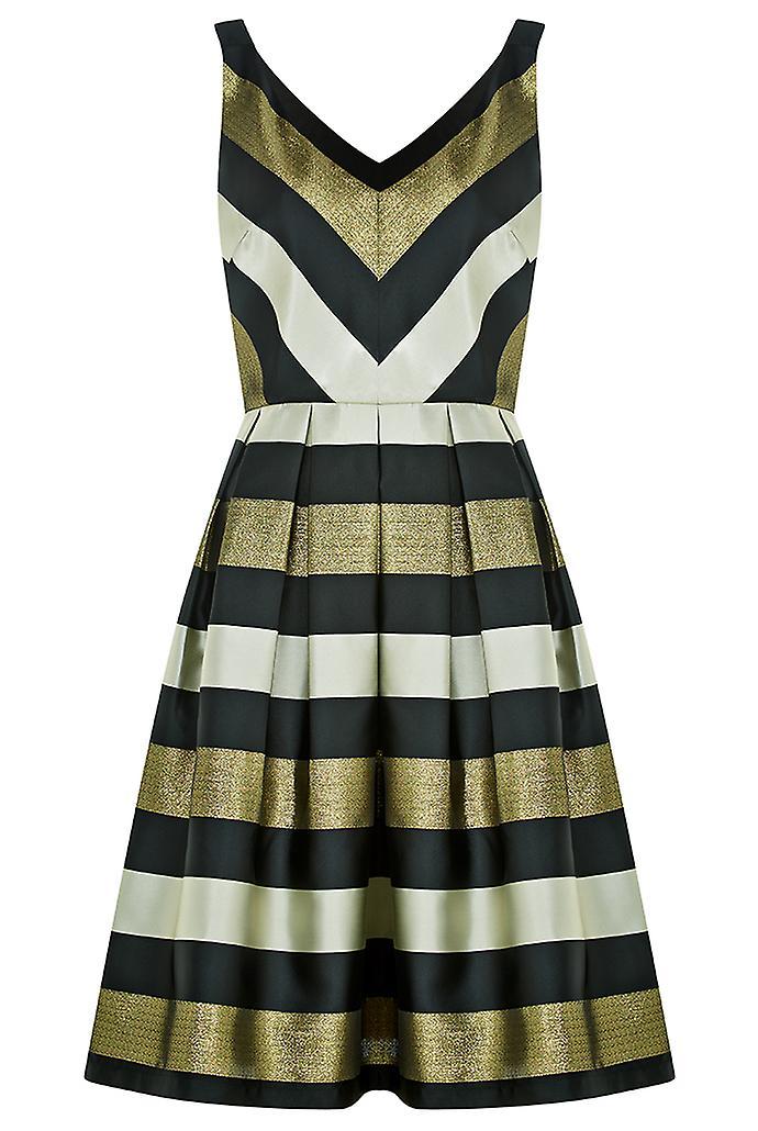 Louche Luxe Etheal Metallic Stripe Dress Black/Gold