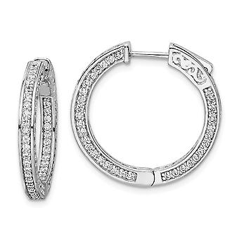 925 Sterling Silver Hinged Polished Safety clasp Rhodium plated CZ Cubic Zirconia Simulated Diamond Round Hoop Earrings