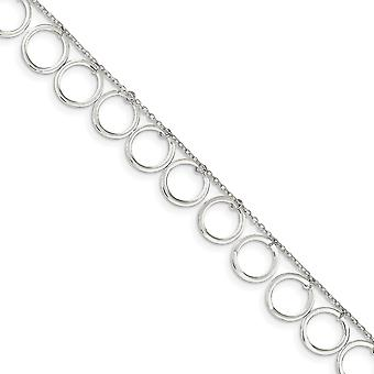 925 Sterling Silver Polished Dangle Circles Anklet 10 Inch Spring Ring Jewely Gifts for Women