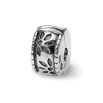 925 Sterling Silver Hinged Flower Polished Antique finish Reflections Kids Floral Clip Bead Charm