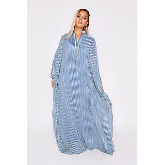 Kaftan anouchka oversized long sleeve collared maxi dress in blue and green stripe