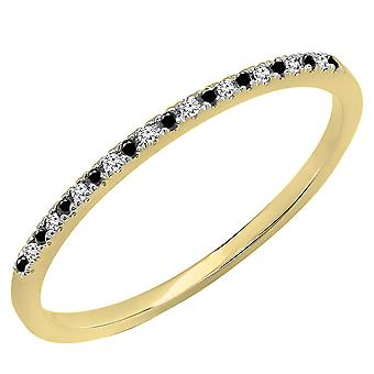 Dazzlingrock Collection 0.08 Carat (ctw) 10K Round Black and White Diamond Dainty Stackable Band, Yellow Gold