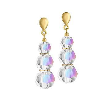 Colección Eterna Trinity Aurora Borealis Crystal Gold Tone Drop Screw Back Clip On Earrings