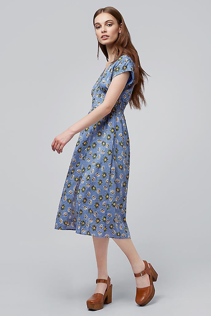 Louche Unity Daises Midi Dress Blue