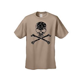 Mænd ' s biker sort kraniet hoved med Kors knogler kortærmet T-shirt