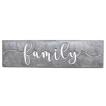 Family plaque - metal cut sign 30x8in