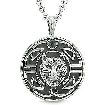 Amulette Courage Wolf sagesse antique Viking noeud celtique simulé Onyx noir collier de Protection