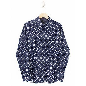 Ted Baker Bien Diamond Print Shirt - Navy