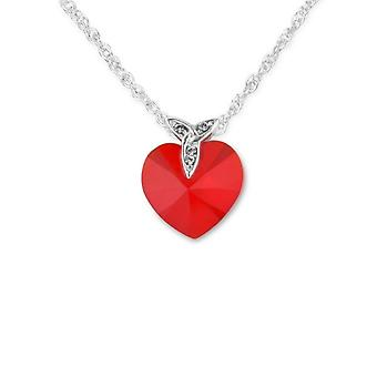 Celtic Holy Trinity Knot Love Heart Shaped Necklace Pendant - Red Swarovski� Crystal - Includes A 16