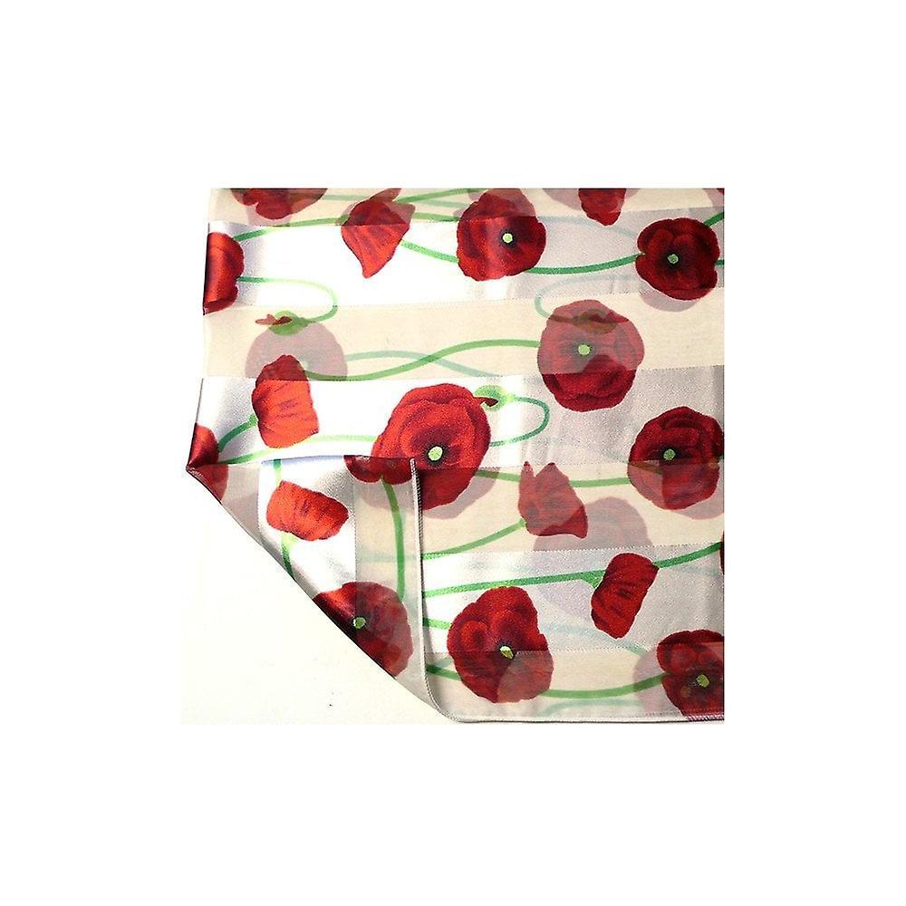 Union Jack Wear Silky White Poppy Scarf, With Green Stems