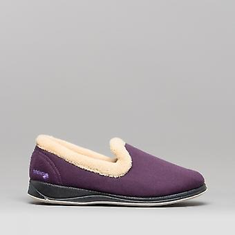 Padders Repose Ladies Microsuede Extra Wide (2e) Full Slippers Lilac