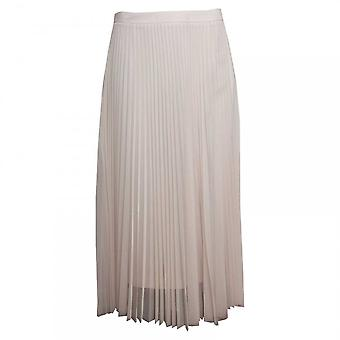 Paola Collection Long Pleated Sheer Lined Cream Skirt