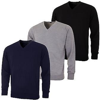 Greg Norman Mens V Neck Merino Wool Blend Golf Sweater