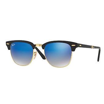 Ray-Ban Folding Clubmaster RB2176 901S/7Q Matte Black/Blue Mirror Gradient Sunglasses