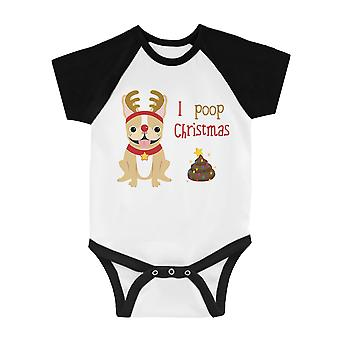 Frenchie jul poop Funny BKWT baby baseball bodysuit X-mas gave