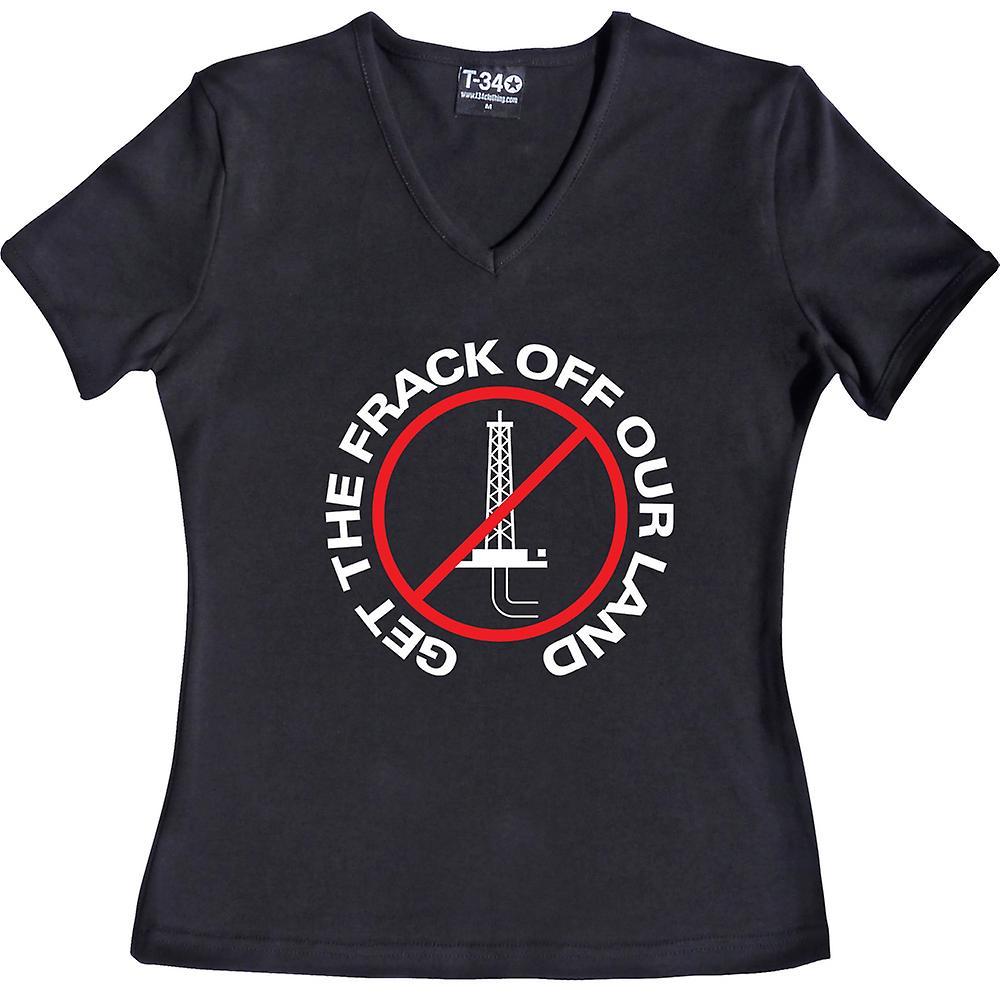 Get The Frack Off Our Land V-Neck Black Women's T-Shirt